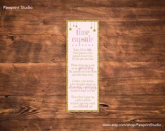 INSTANT PRINTABLE: Twinkle Twinkle Little Star Time Capsule Invitation Insert