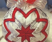 Fabic Quilted Christmas Ornament - Silver, White and Red
