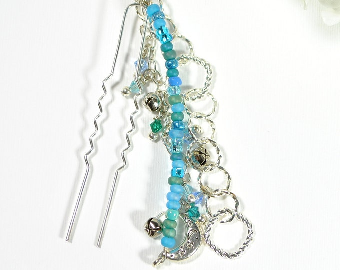 Gypsy Hair Beads Blue Hair Dangle 4 inch Snap Clip or U Pin