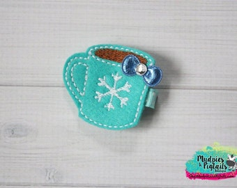 Christmas baby Hair Clippie  { Aqua Coco }  Aqua blue hot coco mug, Hair Clip, winter Barette, Holiday Hair Bow No Slip