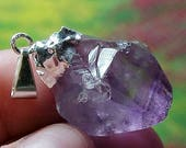 Raw Or Natural Amethyst Crystal Silver Abundance Pendant Or Center Piece For Your Creations 015