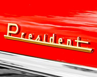 Studebaker President Lettering Car Photography, Automotive, Auto Dealer, Muscle, Sports Car, Mechanic, Boys Room, Garage, Dealership Art
