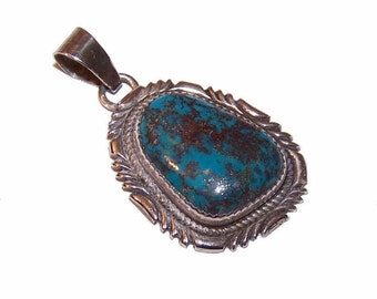 Vintage STERLING SILVER & Natural Turquoise Pendant by R. Ocampo