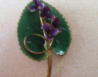 Vintage Brooch Made in Austria Enamel Green Lily Pad with lavender Violet Flowers  Stunning