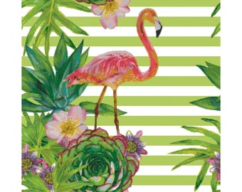 Cross stitch pattern TROPICAL - embroidery pattern,flamingo,cross stitch,needlepoint,embroidery patterns,swedish,anette eriksson,embroidery