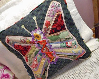 BUTTERFLY PILLOW Fabric Art Collage Vibrant Rainbow Color, Sunflower Fairy Blooms Cornflower Hibiscus Tapestry, Sparkly Trim Piping Ooak 15""