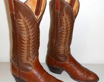 Tony Lama Cowboy Boots Mens 7.5 D Two Tone Brown Western Wear Country Womens 9