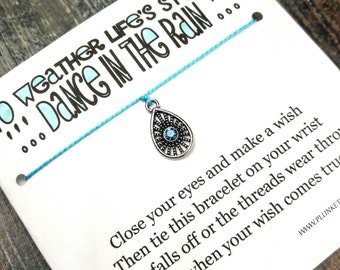 Dance In The Rain - Wish Bracelet With Raindrop Charm - Shown In The Color TURQUOISE - Over 100 Different Colors Are Also Available