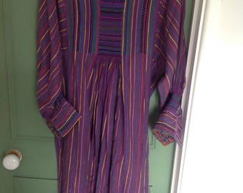 1970s traditional smocked dress