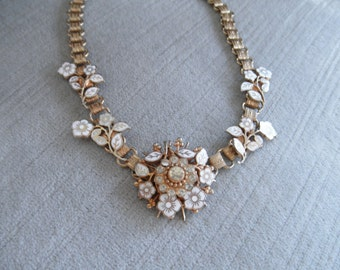 Vintage Choker Necklace - Book Chain Style, White Enameled Forget Me Not Clusters and Clear Rhinestone Accents