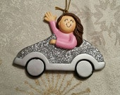 ONLY 1 LEFT! Brunette White Female Girl Woman Driving Car New Car Sweet Sixteen Christmas Tree Ornament Available to Personalize.
