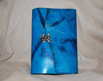 """Turquoise 9 x 6"""" leather journal with latch - great for dreams, travel stories and sketching"""