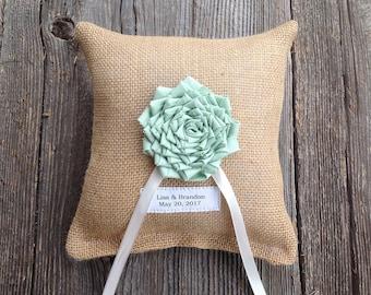 Ring Bearer Pillow, Wedding Ring Pillow, Burlap Wedding,  Personalized Wedding, Mint Wedding, Wedding Pillow, Wedding Cushion, Mint Flower