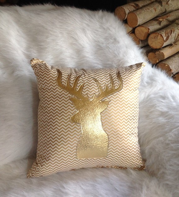 Gold chevron pillow gold home decor gold deer pillow Home decor gold