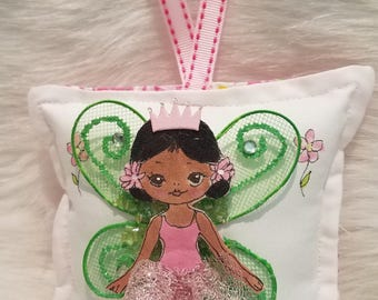 Girl Tooth Fairy Pillow - Hand Painted - Cloth Fairy with Dark Skin and Dark Hair -  Add name for FREE