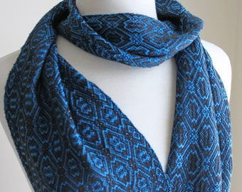 Blue Ming and black handwoven tencel scarf