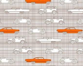 Vintage Cars Fabric - Vintage Cars Brown Orange By Mrshervi - Vintage Cotton Fabric By The Yard With Spoonflower