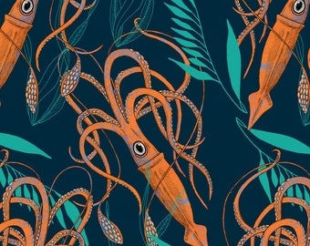 Orange Squid Fabric - Giant Squid By Washburnart - Tropical Summer Squid Cotton Fabric By The Yard With Spoonflower