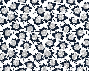 Hydrangea Fabric - Hydrangea In Navy - Small By Thislittlestreet - Small Scale Floral Hydrangea Cotton Fabric By The Yard With Spoonflower
