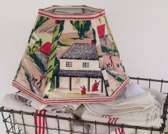 "Farm Lamp Shade, Hex Lampshade in Vintage Bark Cloth Fabric Shade, 5""t x 10""b x 7"" h Cows, Country Scene, Handmade Desk Lampshade"