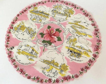 Vintage Florida handkerchief round pink Miami Fort Lauderdale Everglades Hialeah souvenir 1950s
