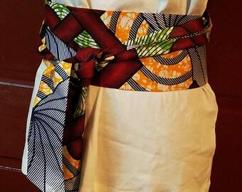 African Afrocentric Ankara Fabric Obi  Sash