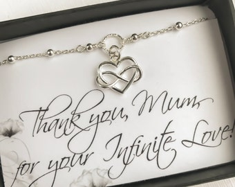 Gift for Mum - Mother's Day Gift - Sterling Silver Infinity Heart Bracelet
