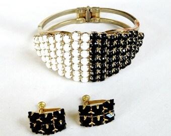 Clamper Bracelet and Earrings Set Black & White Cabochon Rhinestones Vintage