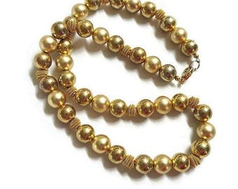 Spiral Wire Beads Necklace Single Strand Matte & Bright Gold Tone Vintage
