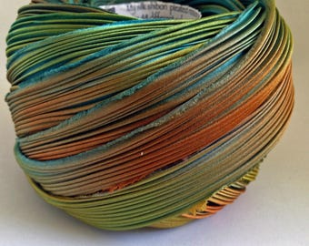 1/2 yd Shibori Ribbon Hand Dyed Silk Ribbon Taos Turquoise Orange Green Shibori Girl