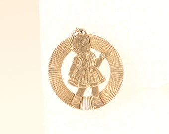 Vintage Girl Child Charm Gold 1950s Girl Round Plated Little Girl in Dress Grooved 3D Pendant Sweet 17