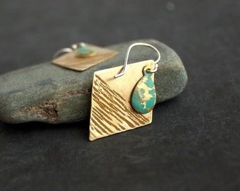 ON SALE SALE - Mustard Turquoise Diamond Dangle Drop Earrings Yellow Textured Gold Brass Verdigris Hammered Teardrop Patina Boho Jewellery