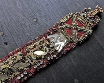 "Antique fabric wrist cuff with metallic lace and vintage sequins - ""Be Your Own Queen"""
