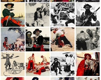 vintage pirates pirate collage sheet 2 INCH squares instant digital download graphics images treasure island scrapbooking crafts printables