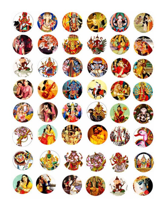 India Art hindu Krishna deities gods goddesses clip art collage 1 INCH circles digital download art graphics printables