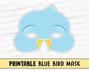 Blue Bird Mask, Bluebird Printable Mask, Spring Easter Mask, Printable Animal Party Mask