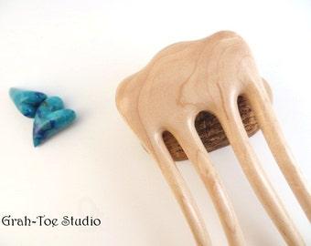 Phoenix Embrace Hair Fork,Hair Forks,Wood Hair Sticks,Hairforks,BE Maple Wood Hairfork Grahtoe ,Man Bun,Hairstick,Wood Hairfork
