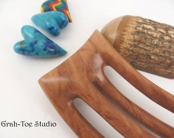 NEW Wood Hair Fork, Hairfork, Hairforks, Grahtoe Studio,4 Prong Dragon Claw Tusk, Man Bun,Madrone Wood, Hair Toys, Hair Pick, 4 prong tusk