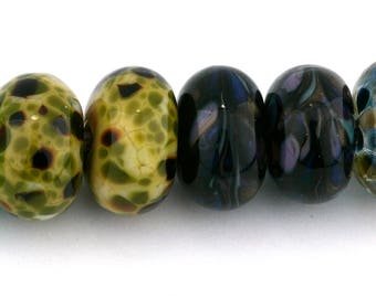 Mixed Pairs Handmade Glass Lampwork Beads (8 count) by Pink Beach Studios - SRA (1444)