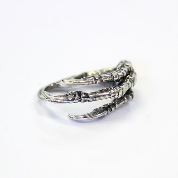 Silver Raven Claw Ring Bird Talon Crow Unisex 002