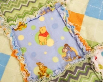 Pooh Inspired Flannel Rag Edge Quilt 30in by 40in Handmade for Babies, Toddlers and Kids