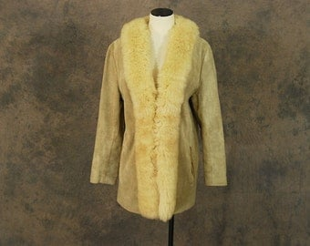 vintage 60s Shearling Coat - 1960s Fur Trimmed Tan Suede Coat Beige Leather Fur Collar Coat Sz L
