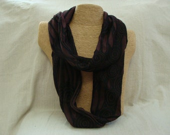 Burgundy and Black Abstract Infinity Scarf - circle scarf - loop scarf - handmade Rhode Island