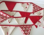 SALE Christmas Bunting -  12 small flags, Reindeer and Scandi print was 14.00 dollars two different sets available