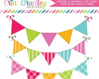 50% OFF SALE Colorful Bunting Clipart Clip Art Banner Flags for Personal & Commercial Use