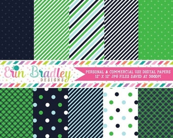 50% OFF SALE Digital Scrapbook Papers Personal and Commercial Use Preppy Navy Blue and Kelly Green Medley