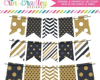 50% OFF SALE New Years Black & Gold Bunting Clipart Holiday Clip Art Graphics Banner Flags