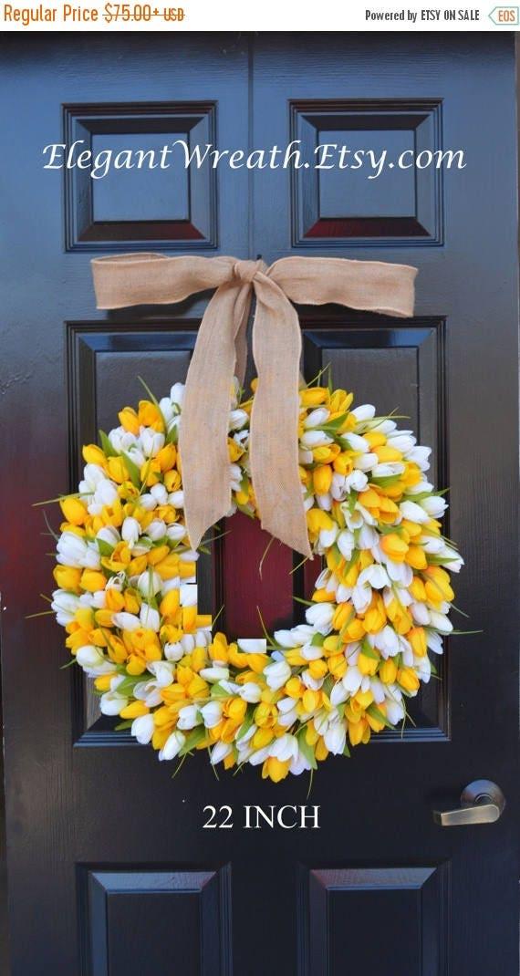 SPRING WREATH SALE Spring Wreath- Summer Wreath- Mother's Day Gift- Summer Decor- Burlap Ribbon, Custom Colors The Original Tulip Wreath