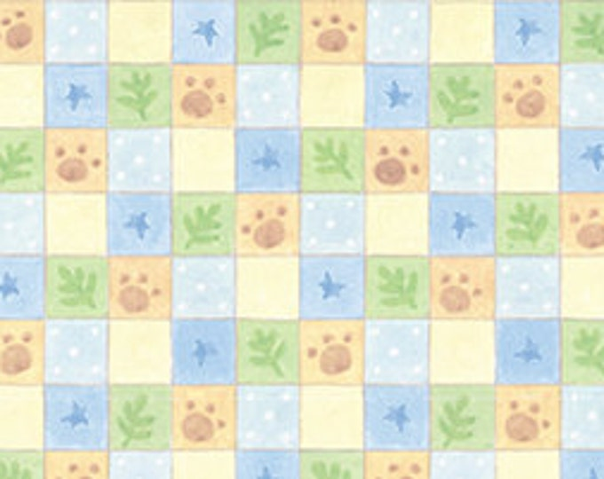 Children's Out Of Print Fabric, Cuddle Time Cotton Fabric Multi Checked Paw Print by Quilting Treasures