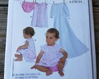 Girls Christening Dress Pattern Burda 9618 Short or Long Shirred Dress & Frilled Panties Infant Sewing Pattern Size 1 to 18 months UNCUT